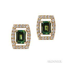 18kt Gold, Green Tourmaline, and Diamond Earclips, David Webb