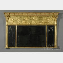 Adam-style Carved and Gilded Overmantel Mirror