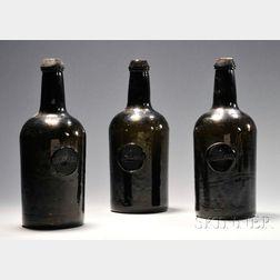 Three Olive-amber Wine/Spirit Bottles with Seals