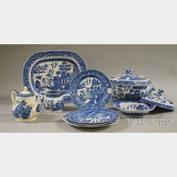 Small Group of Blue Willow Pattern Ceramic Tableware