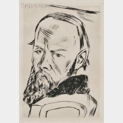 Max Beckmann (German, 1884-1950)      Bildnis Dostojewski   (Portrait of Dostoyevsky)