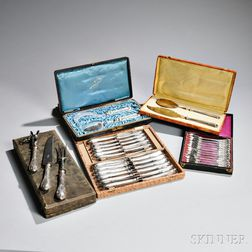 Four Boxed Sets of French .950 Silver Flatware