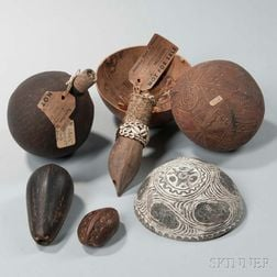 Lot of Seven Melanesian Coconut Items