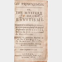 Pascal, Blaise (1623-1662) Les Provinciales, or, the Mystery of Jesuitisme.