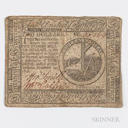 November 29, 1775 $2 Continental Currency Note, CC-12