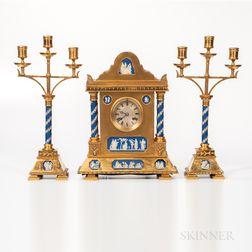 Three-piece Gilt-bronze-mounted and Wedgwood Jasper-inset Clock Garniture