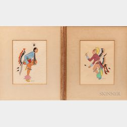 Two Spencer Asah Indian Dancing Paintings