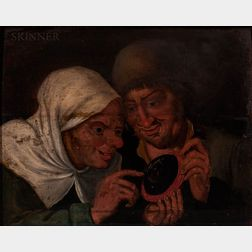 Manner of Pieter Bruegel the Elder (Flemish, 1525-1569)      The Sense of Sight: Peasant Couple with a Mirror