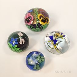 Four Contemporary Paperweights by Orient & Flume, Lundberg, and Buzzini