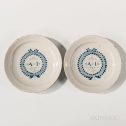 Pair of Dated English Tin-glazed Earthenware Marriage Plates