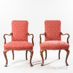 Pair of Shepherd's Crook Mahogany Armchairs