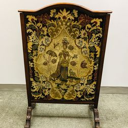 Victorian Needlepoint-upholstered Walnut Fire Screen