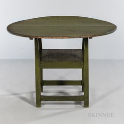 Chippendale Apple Green-painted Pine and Maple Chair Table