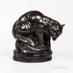 Joseph L. Boulton (1896-1981) Stalking Cougar   Bronze Sculpture