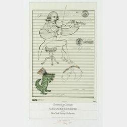 Saul Steinberg (American, b. 1914)  Christmas at Carnegie with Alexander Schneider...