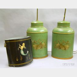 Pair of Paint-decorated Tin Canister Table Lamps and a Martha Cahoon Attributed Painted Mermaid Decorated Tin W...