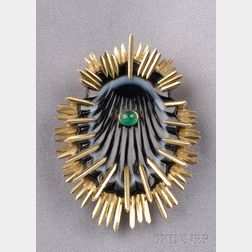 18kt Gold, Agate, and Emerald Clip Brooch, Schlumberger