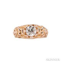 Art Nouveau Gold and Diamond Ring