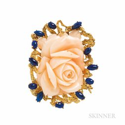 18kt Gold, Coral, and Lapis Brooch/Pendant