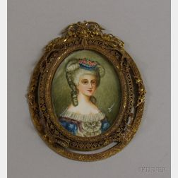 Louis XVI Style Gilt-metal Framed Miniature Painted Portrait of Mme. de   Polignac on Ivory