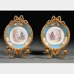 Pair of Louis XV-style Two-light Bronze-mounted Porcelain Wall Sconces