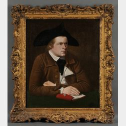Possibly John Johnston (American, 1751-1818)      Portrait of Young Man in Colonial Dress Seated at a Table with Notebook and Pen.