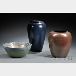 Saturday Evening Girls Bowl, Paul Revere Pottery Vase, and another Vase