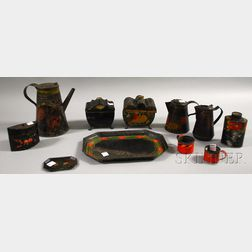 Eleven Pieces of Polychrome Paint-decorated Toleware
