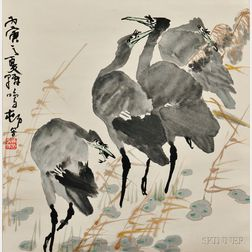 Painting of Egrets with Green Beaks