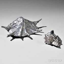 Two Italian Silvered Conch Shells