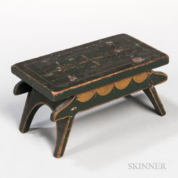 Green- and Yellow-painted Footstool