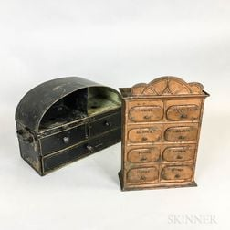 Two Small Painted Tin Cabinets