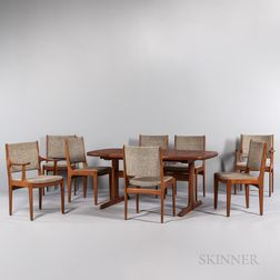 Danish Modern Teak Dining Table and Eight Chairs