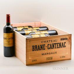 Chateau Brane Cantenac 2005, 12 bottles (owc no lid)