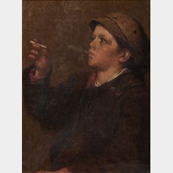 John George (J.G.) Brown (American, 1831-1913)      The Stolen Smoke