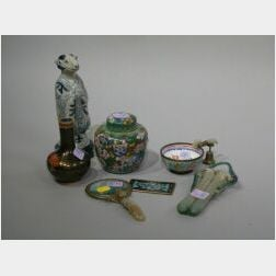Asian Ceramic Brush Pot, Zodiac Figure, Four Pieces of Cloisonne, a Glass Vial, and a Magnifying Glass with Jade Handle.