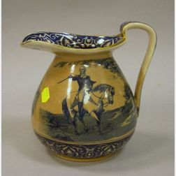 Buffalo Pottery Blue and White George Washington Transfer Decorated Ceramic Pitcher.