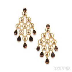 14kt Gold, Colored Diamond, and Citrine Earpendants