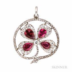 Antique Platinum, Ruby, and Diamond Pendant