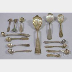 Fourteen 19th Century Coin Silver Sugar Shells, Serving Spoons, and Salt Spoons