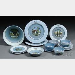 Thirteen Pieces of Saturday Evening Girls Pottery