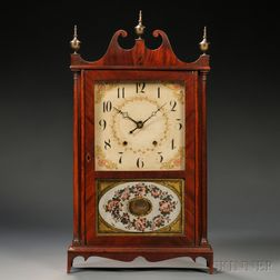 E. Terry & Sons Mahogany Pillar and Scroll Clock