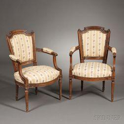 Pair of Louis XVI-style Beechwood Fauteuil