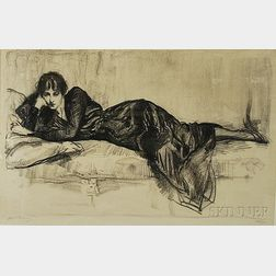 Albert Edward Sterner (American, 1863-1946)      Reclining Woman in Black