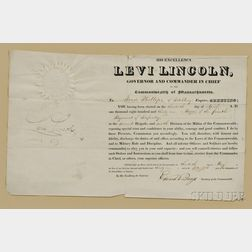 Levi, Lincoln, Sr. (1749-1820) Military Commission Signed, 30 April 1831.