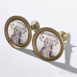 Pair of George Washington Battersea Enamel Mirror Posts