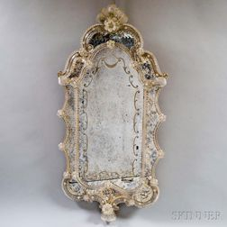 Shaped Venetian Glass Mirror