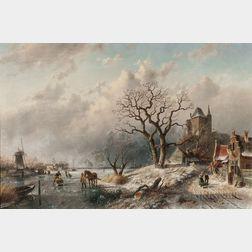 Charles Henri Joseph Leickert (Dutch, 1816-1907)      Animated Winter Landscape with Skaters