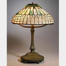 Tiffany Bronze and Favrile Glass Jewelled Feather Lamp
