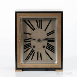 Art Deco Black Marble and Brass Shelf Clock